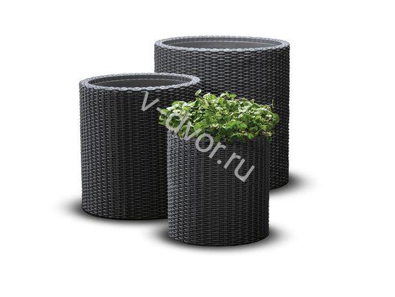 Кашпо cylinder planters set комплект 3 size set Графит