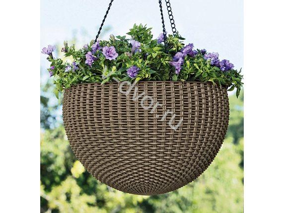 Кашпо Rattan Style Hanging подвесное Мокко (HANGING SPHERE PLANTER)